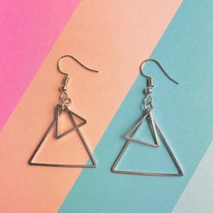 New! Layered Triangle Geometric Earrings Silver